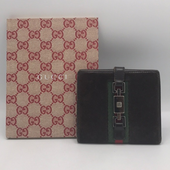 Gucci Handbags - Authentic Gucci Brown Suede &Leather Bifold Wallet